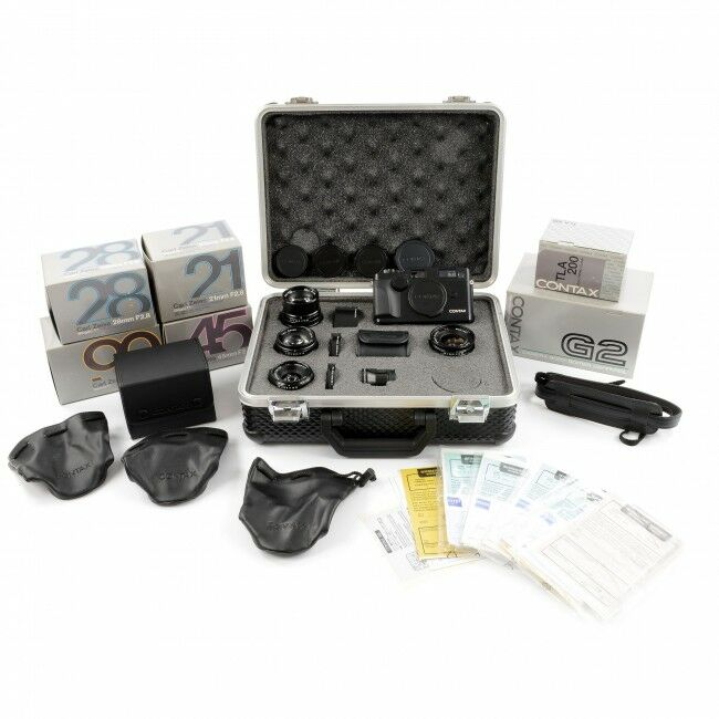 Contax G2 Black Set With 4 (!!!) Lenses + Case Etc. Rare