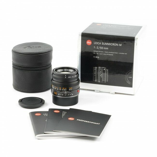 Leica 50mm f2 Summicron-M Black + Box Nice Number 4 Year Warranty