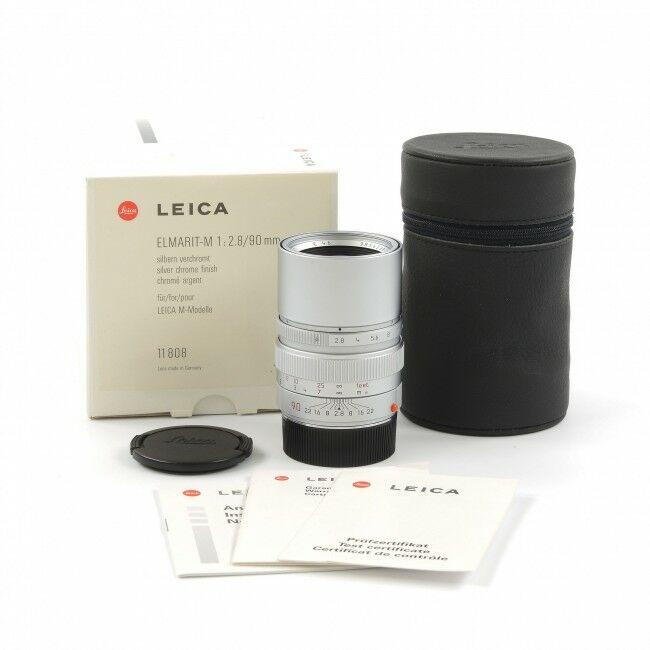 Leica 90mm f2.8 Elmarit-M Silver + Box