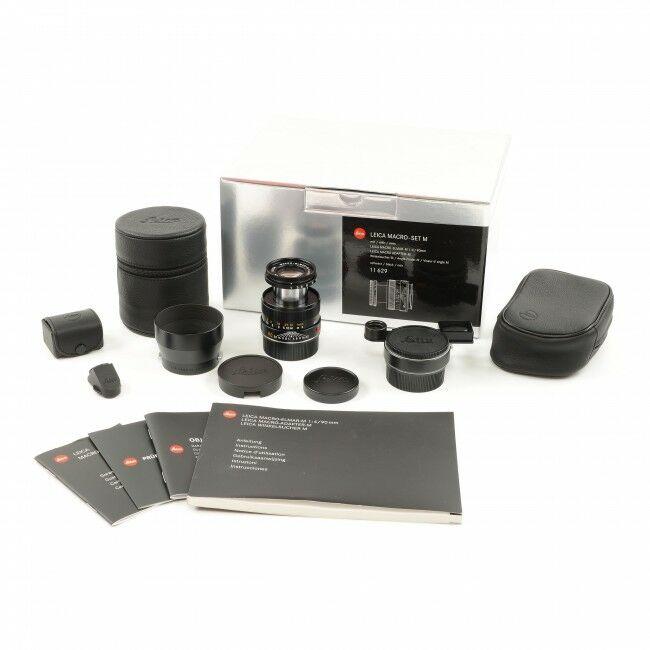 Leica 90mm f4 Macro-Elmar-M Black Set + Box