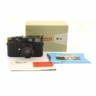Leica M2 Black Paint Button Rewind + 50mm f2 Summicron Black Paint + Box Rare