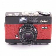 Rollei B35 Black Paint Red Leather